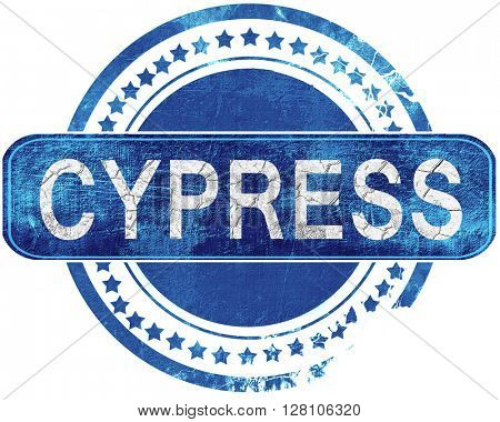 cypress grunge blue stamp. Isolated on white.