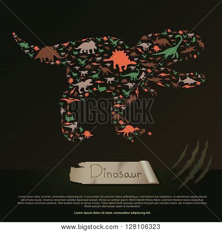Flat dinosaur and prehistoric reptile animal infographic banner background template layout in Tyrannosaurus Rex icon shape for education or advertisement create by vector