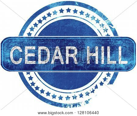 cedar hill grunge blue stamp. Isolated on white.