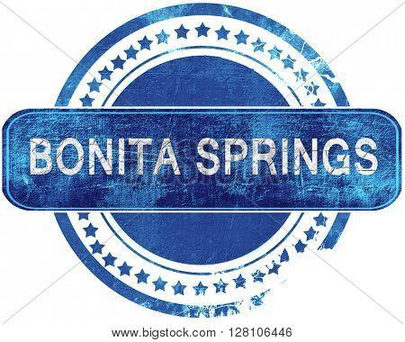 bonita springs grunge blue stamp. Isolated on white.