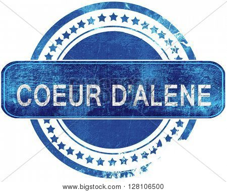 coeur d'alene grunge blue stamp. Isolated on white.