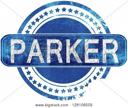 parker grunge blue stamp. Isolated on white.