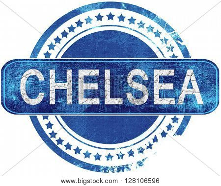 chelsea grunge blue stamp. Isolated on white.