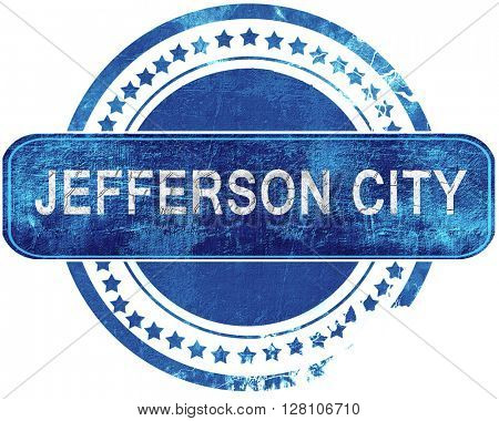 jefferson city grunge blue stamp. Isolated on white.