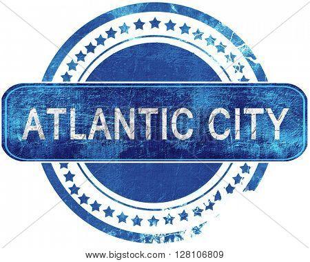 atlantic city grunge blue stamp. Isolated on white.