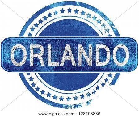 orlando grunge blue stamp. Isolated on white.