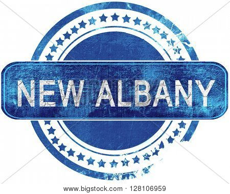 new albany grunge blue stamp. Isolated on white.