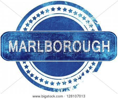 marlborough grunge blue stamp. Isolated on white.