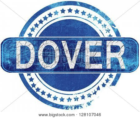 dover grunge blue stamp. Isolated on white.