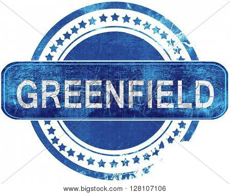 greenfield grunge blue stamp. Isolated on white.