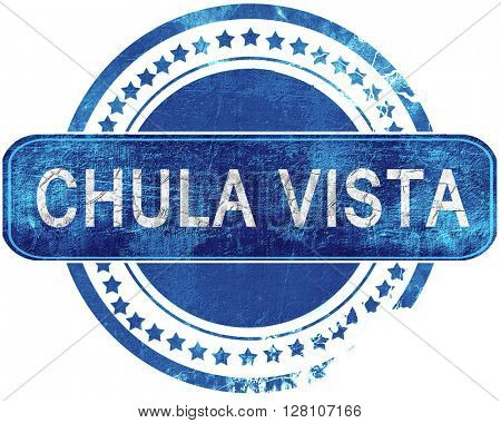 chula vista grunge blue stamp. Isolated on white.