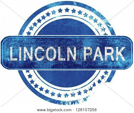 lincoln park grunge blue stamp. Isolated on white.