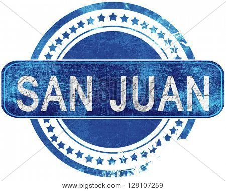 san juan grunge blue stamp. Isolated on white.