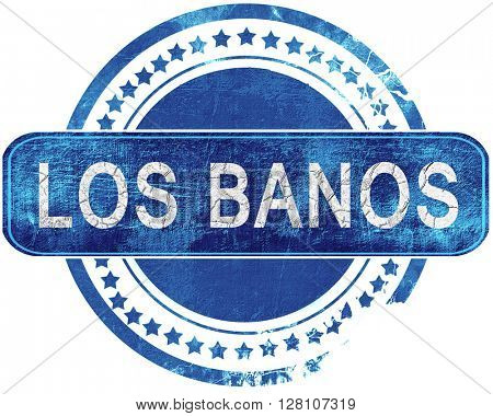 los banos grunge blue stamp. Isolated on white.