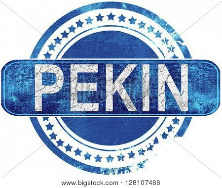 pekin grunge blue stamp. Isolated on white.