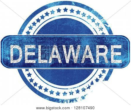 delaware grunge blue stamp. Isolated on white.