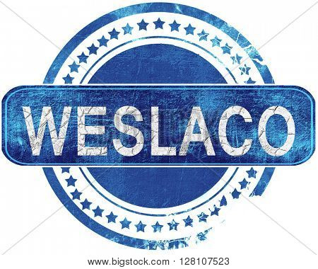 weslaco grunge blue stamp. Isolated on white.