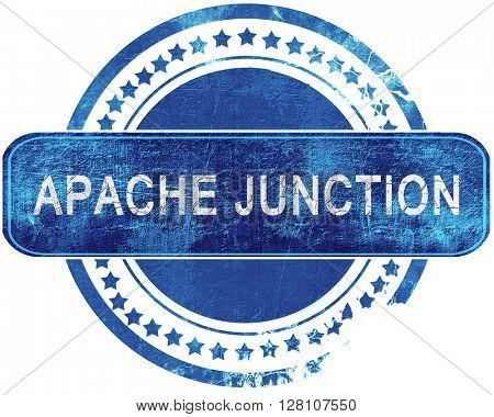 apache junction grunge blue stamp. Isolated on white.