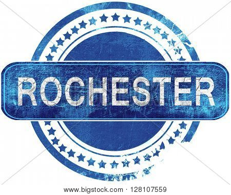 rochester grunge blue stamp. Isolated on white.