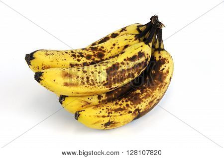 rotted banana on white background, food object