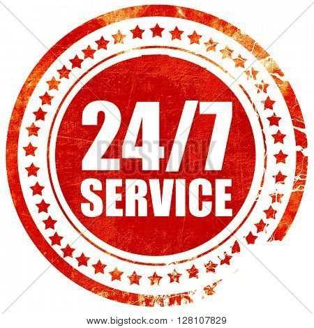 24/7 service, red grunge stamp on solid background