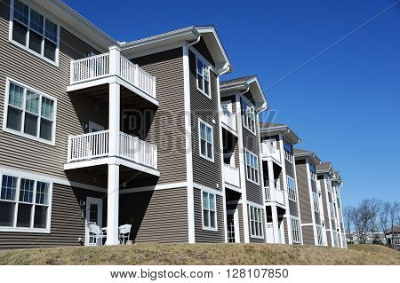 Low angle view of modern apartment building in NH