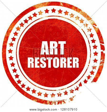 art restorer, red grunge stamp on solid background