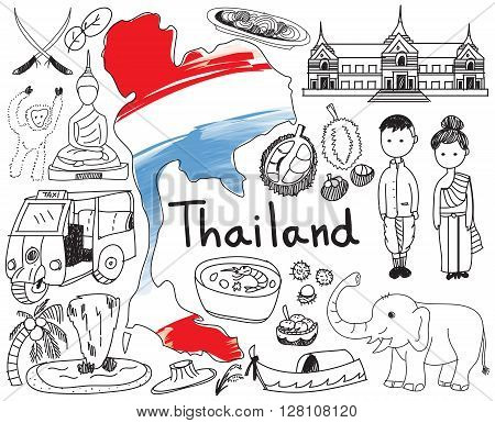 Travel to Thailand (Siam) doodle drawing icon with culture costume landmark and cuisine tourism concept in isolated background create by vector