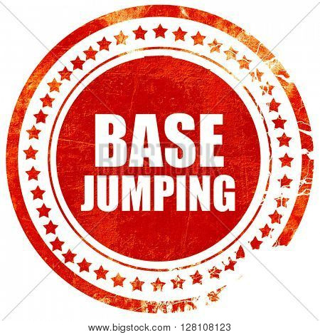 base jumping, red grunge stamp on solid background