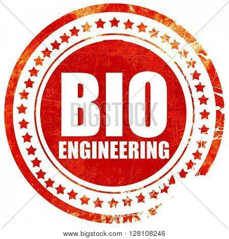 bio engineering, red grunge stamp on solid background