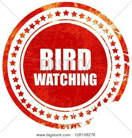 bird watching, red grunge stamp on solid background