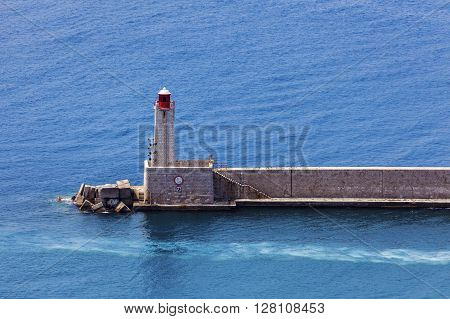 Nice Lighthouse - aerial view. Nice French Riviera France.