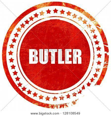 butler, red grunge stamp on solid background