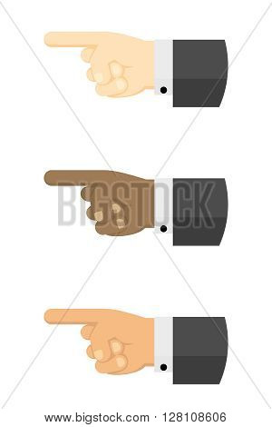 Three Businessman Pointing. Flat Design Vector Illustration Of Three Bussinessman Hands Pointing with the Index Finger