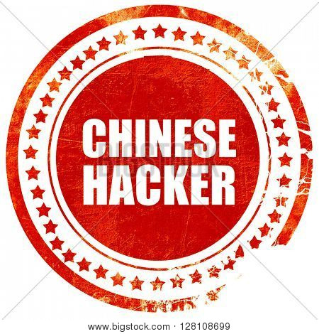 chinese hacker, red grunge stamp on solid background
