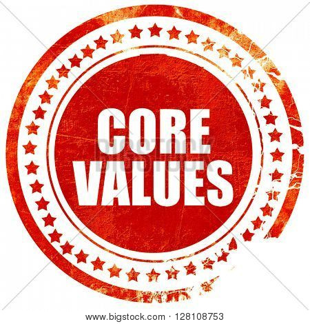 core values, red grunge stamp on solid background