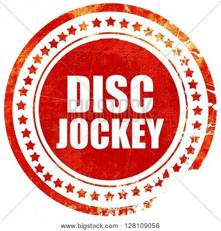 disc jockey, red grunge stamp on solid background