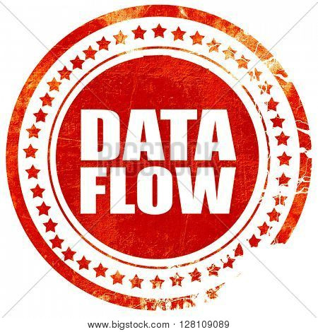 data flow, red grunge stamp on solid background