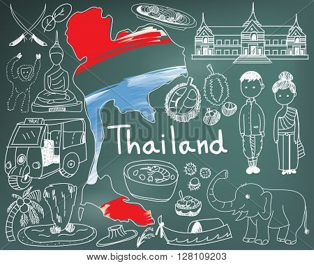 Travel to Thailand (Siam) doodle drawing icon with culture costume landmark and cuisine tourism concept in blackboard background create by vector