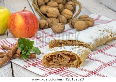 One Slice Homemade Apple Strudel with Cinnamon Mint and Appel