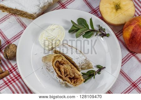 Top View on Two Slices Homemade Apple Strudel on a Plate