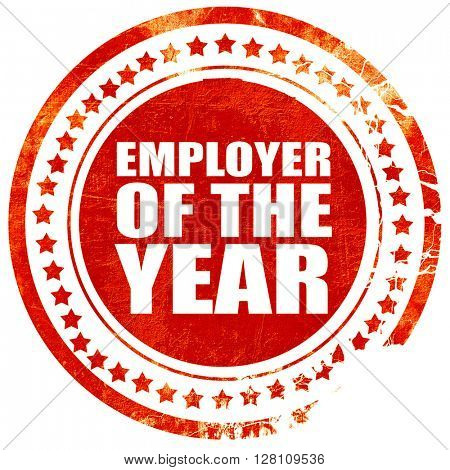 employer of the year, red grunge stamp on solid background