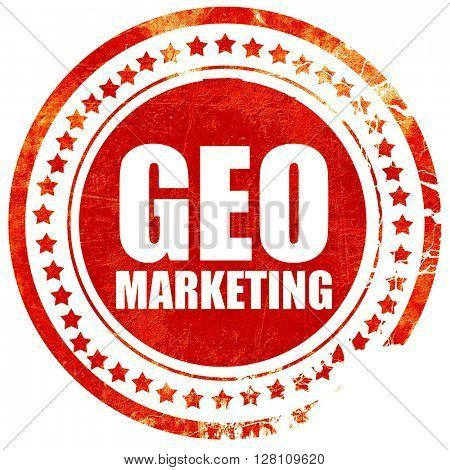 geo marketing, red grunge stamp on solid background