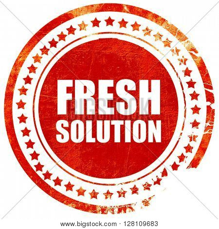 fresh solution, red grunge stamp on solid background