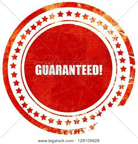 guaranteed!, red grunge stamp on solid background