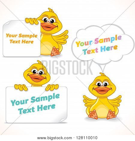Funny Little Duck Showing Blank Banner and Sign. Advertising Image Ready for Your Text and Design.