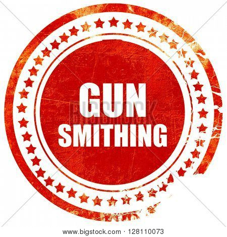 gun smithing, red grunge stamp on solid background