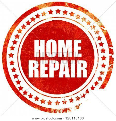 home repair, red grunge stamp on solid background