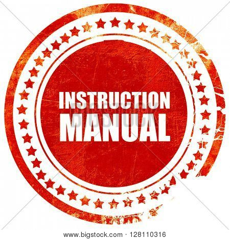 instruction manual, red grunge stamp on solid background