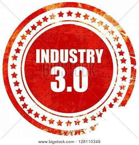 industry 3.0, red grunge stamp on solid background